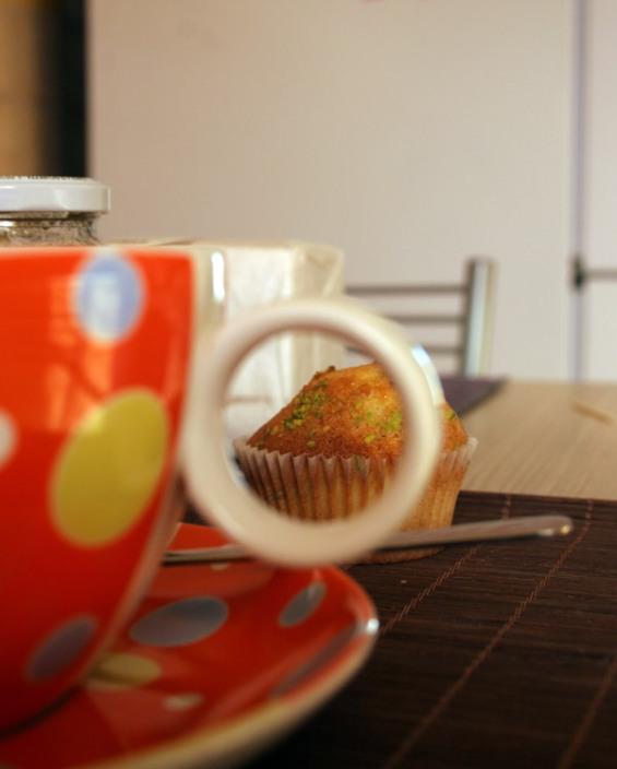 muffin pistacchio di Bronte e gocce di cioccolato